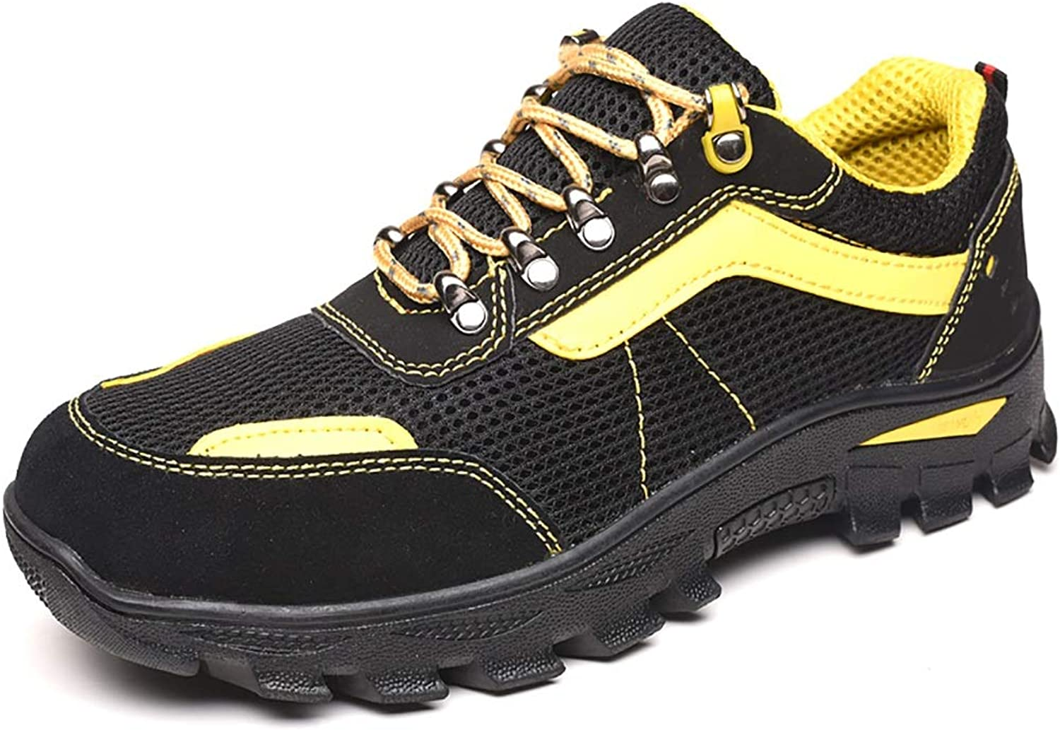 Gym wear for men Men's suede leather hiking shoes waterproof non-slip low waist thin section non-slip casual shoes outdoor path walking shoes on cloud running shoes (color   Yellow, Size   44)