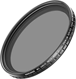 Neewer 72mm ND2-400 NDフィルター フェーダ変数 ND2-ND400の中性濃度フィルター Sony FE 70-200mm f/4 G OSS、Canon EF 50mm F/1.2 L、Sigma 18-35mm F/1.8 ARTのような72mmスレッドを付きのDSLRカメラ用