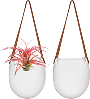 Wall HangingPlanters - Modern Wall Decor 7.5 X 5.7 Inch Unglazed Ceramic Air Plant Holder Indoor, Succulent Pot with Leather Strap, Set of 2