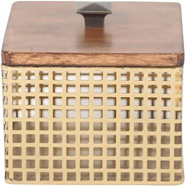 "Sagebrook Home, Bronze/Brown Iron & Wood Decorative Box, 6"" x 6"" x 5.5"""