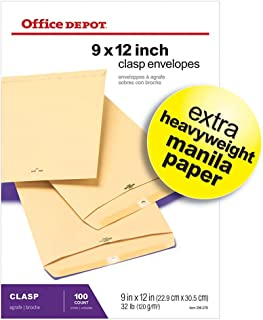 Office Depot Clasp Envelopes, 9in. x 12in, Manila, Box of 100, 77490