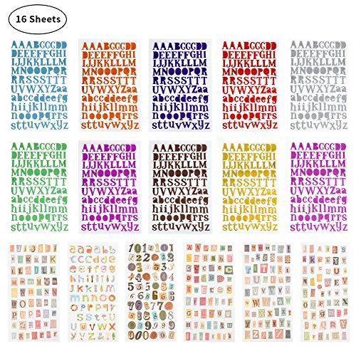 You&Lemon 16 Blätter Buchstaben Aufkleber Zahlen Aufkleber Selbstklebende Fun Stickers Deko Buchstaben Zahlen Aufkleber für Grußkarten