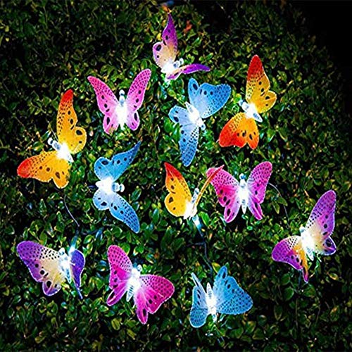 LightJH Luces Solares Mariposa,Luces Solares Mariposa LED Dormitorio Interior Aire Libre, Luces Decorativas Interiores/Exteriores, Luces Hadas Navidad/Patio/Jardín/Fiesta
