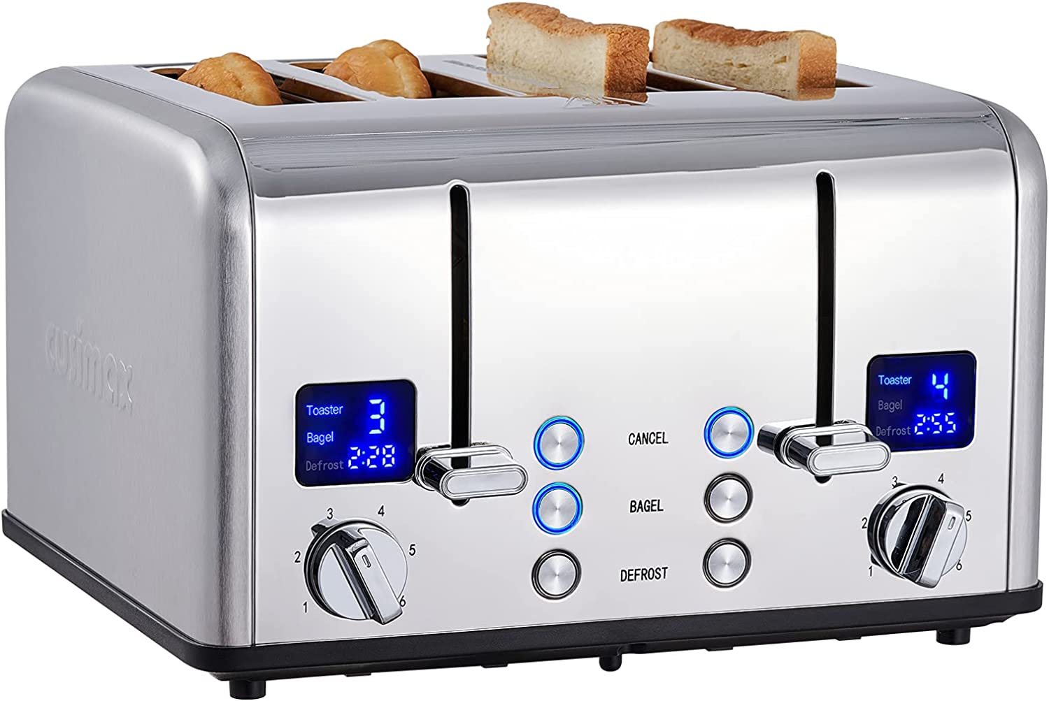 CUSIMAX 4 Slice Toaster, Ultra-Clear LED Display & Extra Wide Slots, Dual Control Panels of 6 Shade Settings, Cancel/Bagel/Defrost Function, Removable Crumb Trays, Stainless Steel Toaster