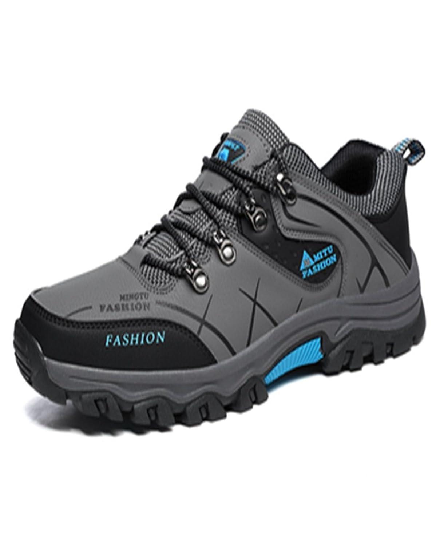 トレッキングシューズ 登山靴 メンズ  ハイキングシューズ 防水 防滑 ウォーキングシューズ アウトドア トラベル ハイカット キャンプ シューズ 暖かい靴 大きいサイズ クッション性/通気性  グレー 27.5CM