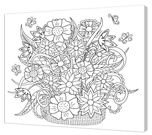Pintcolor 7813.0 châssis avec Toile imprimée à colorier, Bois de Sapin, Blanc/Noir, 40 x 50 x 3,5 cm