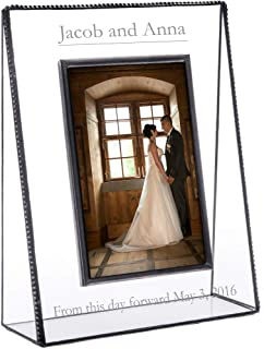 J Devlin Pic 319 EP 548 Series Personalized Wedding, Anniversary, Engagement Picture Frame - Clear Engraved Glass - Available in Multiple Photo Sizes (5x7 Vertical)