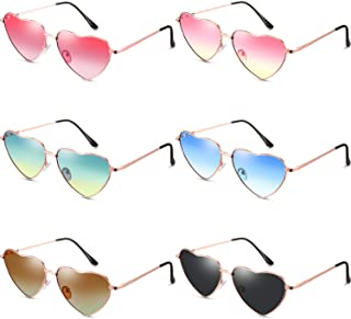 6 Pairs Heart Shaped Sunglasses Vintage Heart Frame...