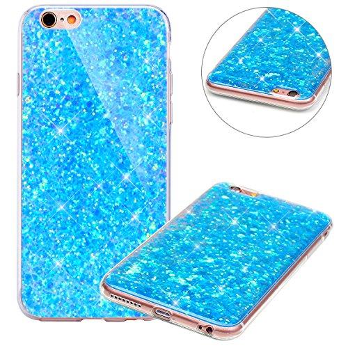 Surakey Compatible avec Coque iPhone 6,Paillette Strass Brillante Glitter Transparent Silicone TPU Souple Housse Etui Bumper Case Cover de Protection pour iPhone 6S,Bleu