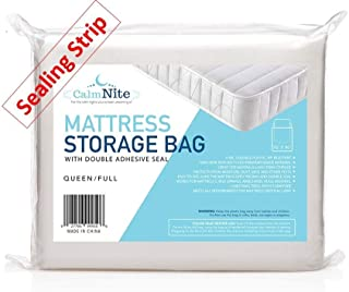 Extra Thick Mattress Storage Bag with Adhesive Seal for Moving and Storing – Clear 4 MIL Plastic - Protects Bedding and Furniture from Moisture, Dirt, Bugs and Pests - 76 x 96 Full & Queen