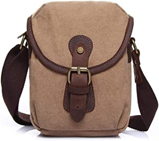 Mens Bag Color: Army Green Simple Retro Zip Canvas Shoulder Bag Messenger Bag High capacity