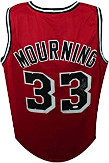 Alonzo Mourning Autographed Miami Heat Custom Red Basketball Jersey - JSA COA