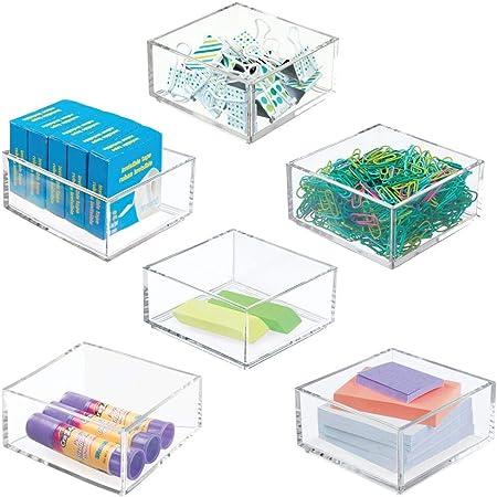 mDesign rangement bureau– boite de rangement pratique pour les trombones, les blocs-notes et autres – boite en plastique pour le bureau – lot de 6 – transparent