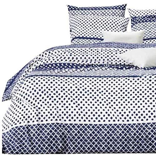 Aminata Kids Bettwäsche Punkte 135x200 Baumwolle blau weiß - gestreift geometrisches geometrische Muster mit Linien für Damen, Männer, Jugendliche