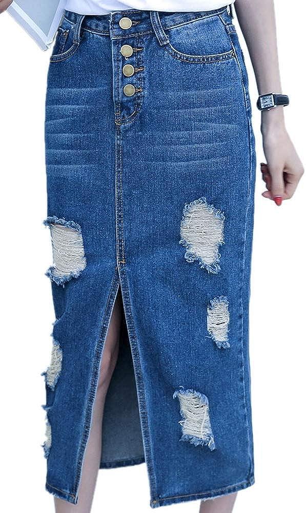 OKilr Pjik Women's Casual Slim Side Slit Button up Distressed Pleated Denim Skirts