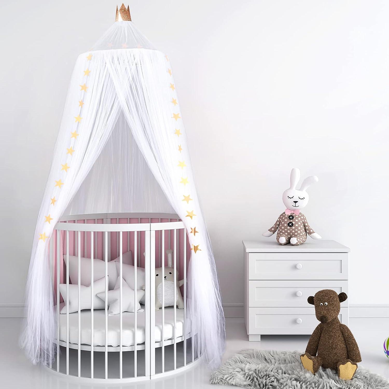 Dosel de Cama para Niños Bebés, Dosel de Princesa de Corona Tienda de Red Mosquito de Estrellas de Cúpula Redonda Toldo de Cuna de Castillo de Dormitorio (Blanco, Hilo de 10 Capas)