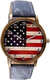 Auwer Wrist Watches, Vogue American Flag Pattern Leather Quartz Analog Canvas Strap Watch