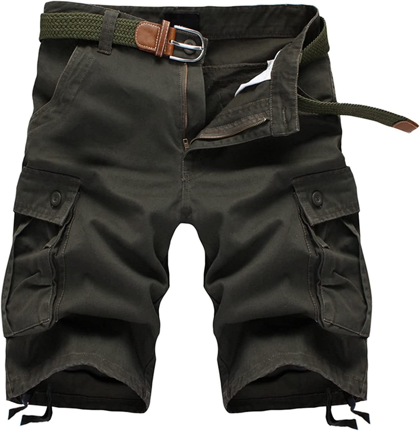 Mens Long Cargo Shorts Multi Pockets Durable Baggy Work Short-Pant Outdoor Cotton Straight Relaxed Fit Casual Short