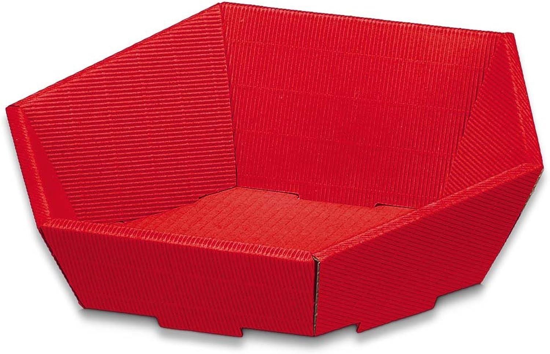 25x Geschenkkorb, Präsentkorb aus Wellpappe, 6-eckig, Rot, 23 x x x 19,5 x 10,5 cm B07DD4DV9S | Sofortige Lieferung  b0dd72