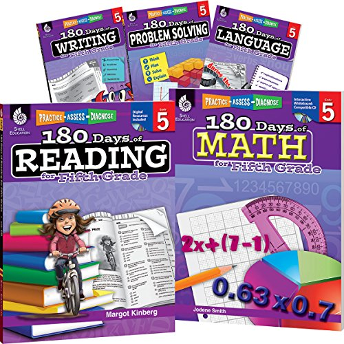 180 Days of Fifth Grade Practice, 5th Grade Workbook Set for Kids Ages 9-11, Includes 5 Assorted Fifth Grade Workbooks to Practice Math, Reading, ... Problem Solving Skills (180 Days of Practice)