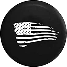 Spare Tire Cover Waving American Tattered Flag Military fits Jeep Spare Tire Cover or RV Accessories Black 32 Inch