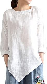 Clearance Womens Tops ,KIKOY Summer Vintage Cotton Linen Long Sleeve Shirt Casual Loose Blouse