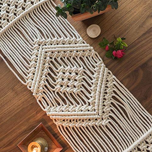 Makramee Tischläufer handgewebte Boho Hochzeit Tischdekoration Bettwäsche Decke, Nordic INS natürliche Baumwolle Tischsets für Home Wedding Festival Party Tablewear Decor