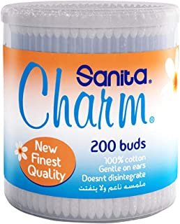 Sanita Charm 100% Cotton Buds, 200 buds
