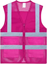 GOGO Unisex US Size Mesh Volunteer Vest Zipper Front Safety Vest with Reflective Strips and Pockets-Hot Pink-US 2XL