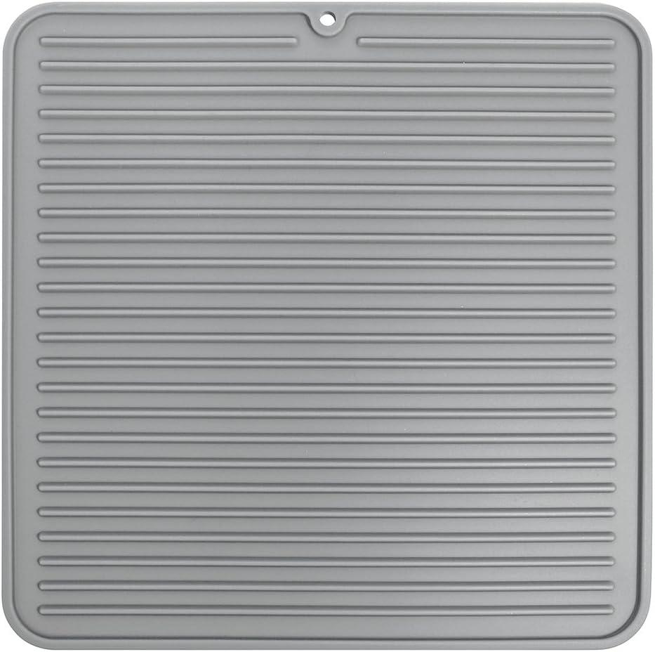 InterDesign Lineo Tapete escurridor, Alfombrilla escurreplatos compacta de Silicona para secar Cubiertos y vajilla, Gris