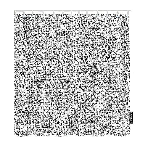 Paedto Cortina Baño, Cortina de Ducha Resistente al Moho Poliéster, Impermeable Lavable Shower Curtian,Patrón Geométrico Resumen Lienzo Cuadrícula Gráfico Irregular Único