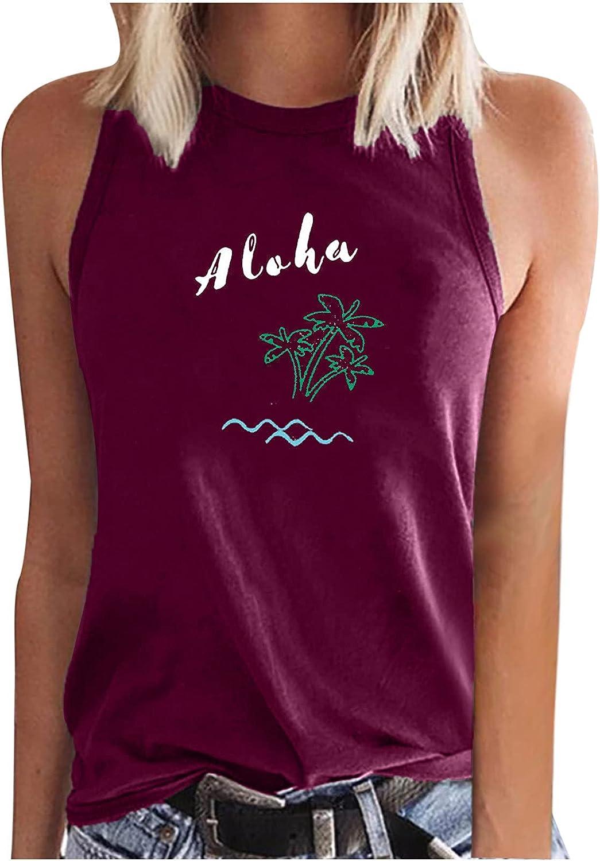 Cute Summer Tee Fashion Casual Women Sleeveless Printed Ladies Crewneck Tops Vest T-Shirt Sleeveless Vest