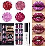 Kit de labios con purpurina Set de pintalabios líquido, Kit de labios con purpurina Stay Golden, Lápiz labial metálico con purpurina de diamante de 4 colores (Red Set)