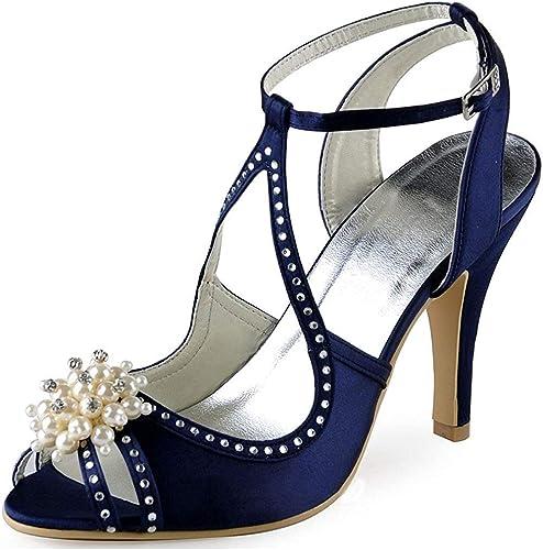 ZHRUI Sandalias de Noche de Boda de satén para mujer con Cristales de Flores (Color   Navy azul-7.5cm Heel, tamaño   5 UK)