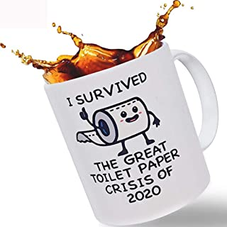 Funny Coffee Mug - I Survived The Great Toilet Paper Crisis Of 2020   11oz Novelty Joke Mug Cup Funny Birthday Gift for Me...