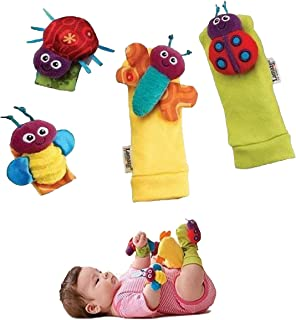1 X Baby Wrist Rattle & Foot Finder Toys - Set of 4PCS Baby Infant Soft