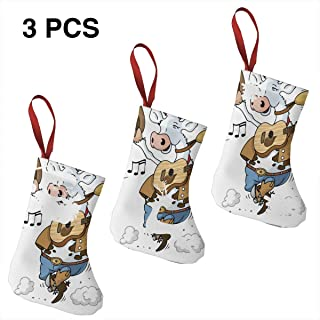 Leisue Cartoon Cow Playing Guitar 3 Pcs Christmas Stockings Sock Decoration for Holiday