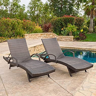 (Set of 2) Olivia Outdoor Brown Wicker Armed Chaise Lounge Chair