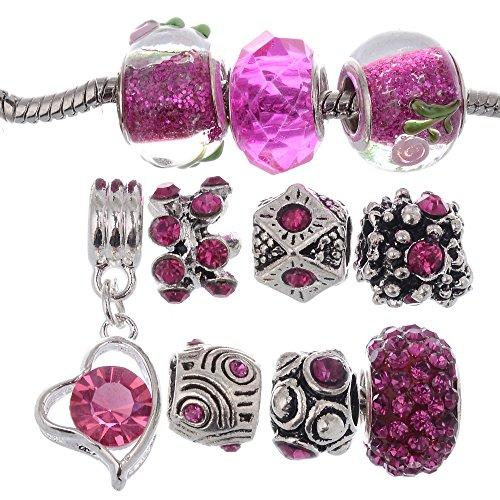 Price comparison product image RUBYCA Murano Lampwork Charm Glass Beads Tibetan Crystal European Bracelet Mix Assortment Fuchsia 15Pcs
