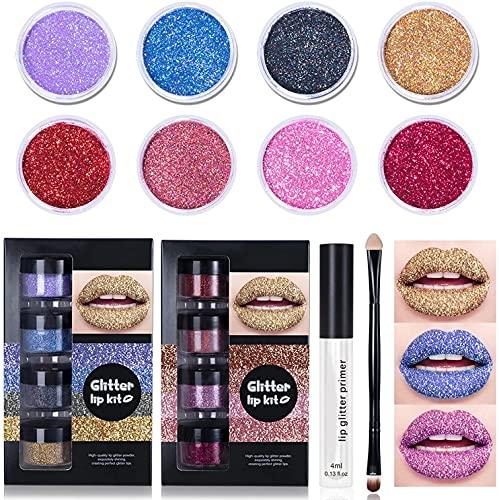 Glitter Lip Kit Liquid Lipstick Set,4 Color Diamond Glitter Metallic Lipstick Waterproof,Glitter Lip Kit Stay Golden,Smudgeproof and Long-Lasting Set with Lip Primer and Brush (B)