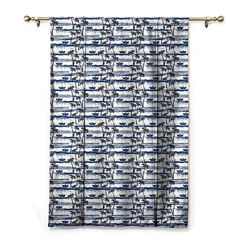 Roman Curtains for Windows Windproof Curtain Hawaiian Pattern with Paper Boats on Worn Sea Waves Coastal Artwork Roman Style Curtains (Rod Pocket Panel, Width 28' x Length 72')