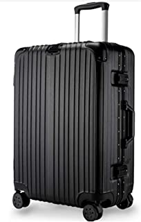 SRY-Luggage ABS+PC Polyester Suitcase Boarding Bag, Aluminum Frame Trolley Universal Wheel, 20, 22, 24, 26 Inch Durable Carry on Luggage (Color : Black, Size : 20inch)