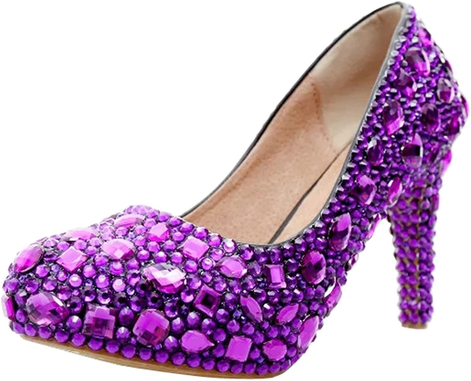 TDA Women's Charming Rhinestones Wedding Party Dress Stiletto Pumps
