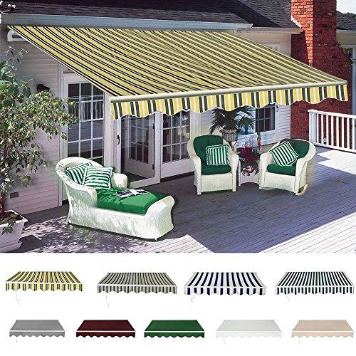 Panana 4 x 3M Manual Awning Retractable Canopy Sun Shade Shelter Waterproof Outdoor Patio Garden