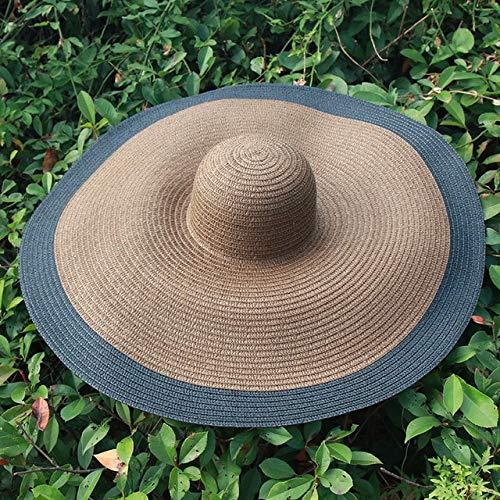 Sombreros de Playa de Gran tamaño de ala Ancha de 25 CM para Mujer Sombrero de Paja Grande con protección UV Sombrero de sombrilla Plegable-Coffee Black