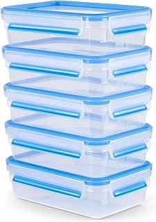 Emsa Clip & Close Frischhaltedose Mealprep-Set N1030700   5-teiliges Set   Vorratsdosen   0,8 Liter   100% dicht  hygienisch   Frische Dichtung   Spülmaschinen-, Mikrowellen-, und Gefriergeeignet