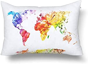 brandless Watercolor Global World Map Abstract Splatters Painting Art Pillow Cases Pillowcase, Rectangle Pillow Covers Protector for Home Couch Sofa Bedroom Decoration 20x30