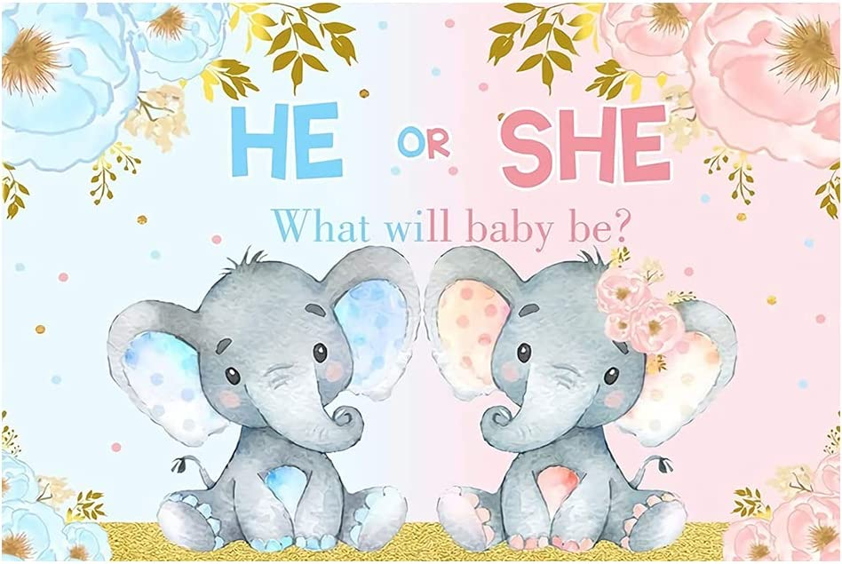 Elephant Gender Reveal Ranking Over item handling TOP11 Photo Backdrop Baby Shower Ba Party 7x5ft
