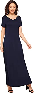Women's V-Neck Dress Side Slits Maxi Dress with Pockets