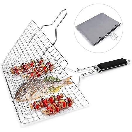 BARBECUE Accessoires BBQ Double Poisson Grill Panier Rack Rack en Acier Inoxydable Utilis/é pour la Cuisson Poisson L/égume Viande et Outils